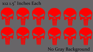 Punisher Skull Car Window Helmet Reflective Red Decal Stickers Pack Lot of 12