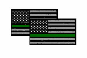 x2 Military TATTERED Green Line USA Flag Decal Army Veteran 4""