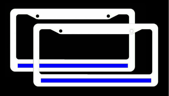 x2 Reflective Thin Blue Line Support Police White License Plate Frame #whtFR8m