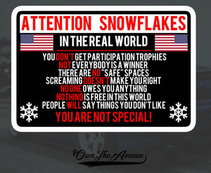 Attention Snowflake Sticker Decal Political Trump FOR Window Car Truck Bumper 5""