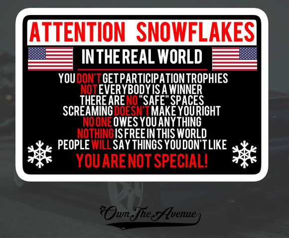 Attention Snowflake Sticker Decal Political Trump FOR Window Car Truck Bumper 5