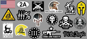 17 2nd Amendment Stickers Decals - Mega Pack Molon Labe Spartan 300 (Mega2ndAm)