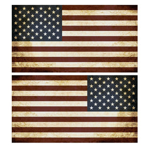 "USA American Flag Tattered United States Decal Sticker Left / Mirrored 5"" #Nf4"