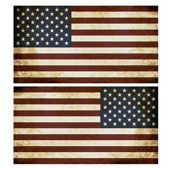 USA American Flag Tattered United States Decal Sticker Left / Mirrored 5