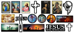 Christian Sticker Mega Pack Lot Jesus Christ Vinyl Decal Stickers 17 Pcs