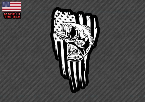 American flag Bass fish sticker decal- fishing USA 10