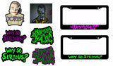 Joker Haha Why So Serious 6 Pack Decal Stickers & Two Joker License Plate Frames