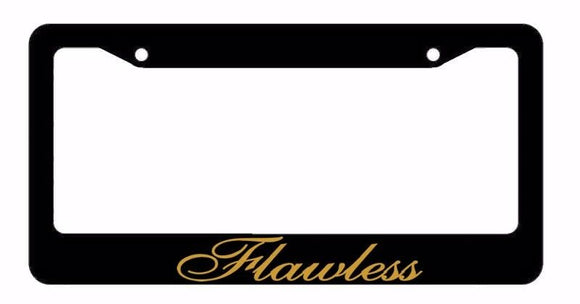 Flawless Gold Clean Race Drift JDM Low Turbo Black License Plate Frame (flwlsFR)