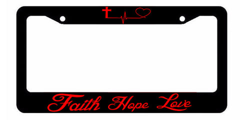 Faith Hope Love Symbol Heart Cross Christian Jesus License Plate Frame Red Art