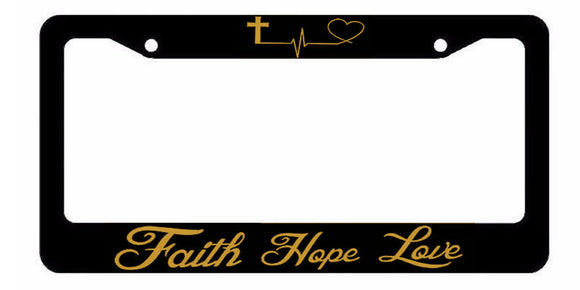 Faith Hope Love Symbol Heart Cross Christian Jesus License Plate Frame Gold Art