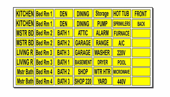 Circuit Breaker Labels Stickers for Home and Shop Electrical Box