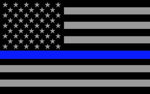 "x2 Subdued US Flag Reflective Decal with Thin Blue Line 4""x2.5"""