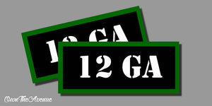 "12 GA Ammo Can Labels for Ammunition Case 3.5"" x1.50"" stickers decals(2PACK)"