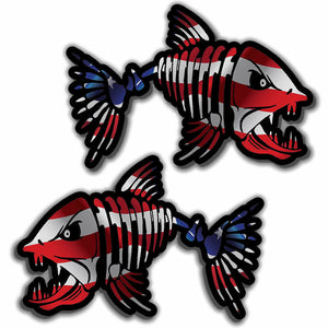 Skull Bone Fish USA Sticker Decal - American Flag CHOOSE SIZE! Left+Right