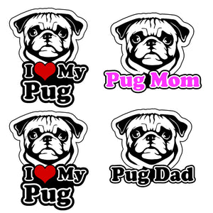 Pug Vinyl Decal Sticker Pack Lot I Love My Rescue Dog For Bumper Window #FC44