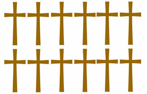 Cross 12 Pack Sticker Decal - Christian Jesus Choose Color! -Hard Hats Helmet 3""