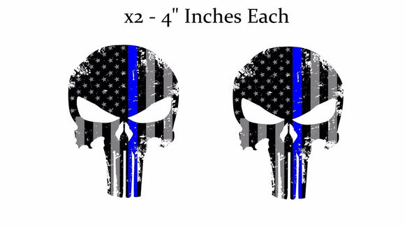 Punisher Skull Blue Tattered Subdued Flag Decal Stickers Pack Lot of 2 #be3