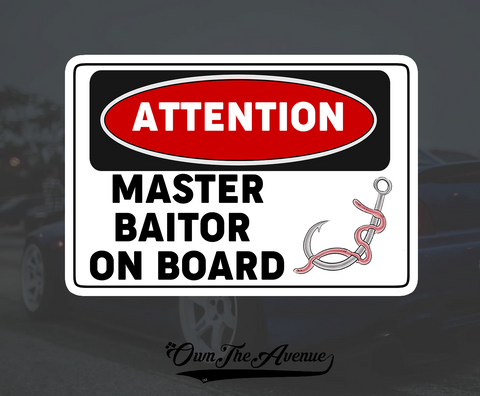 Master Baiter On Board Sticker Decal- Funny Fisherman Fish Boating Boat Bait 5""