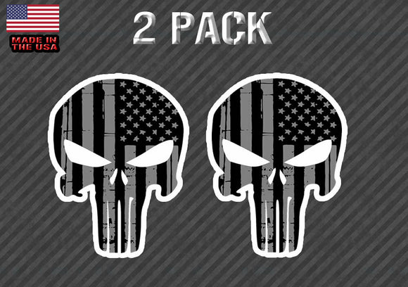 x2 Punisher Sticker Decal - Tattered Black gray American Flag 5