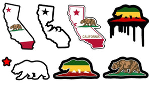 "Cali California Bear State Lot / Pack of 7 Vinyl Decal Stickers 4"" JDM #mod7fc"