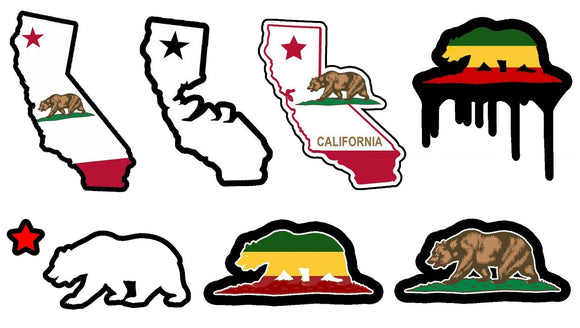 Cali California Bear State Lot / Pack of 7 Vinyl Decal Stickers 4