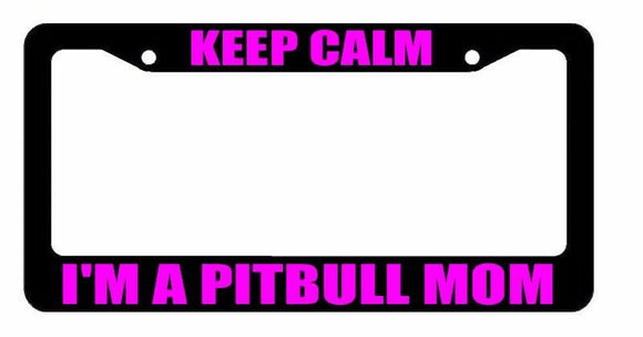 JDM Keep Calm Pitbull Mom Race Drift Low Turbo Black License Plate Frame USA2 OG