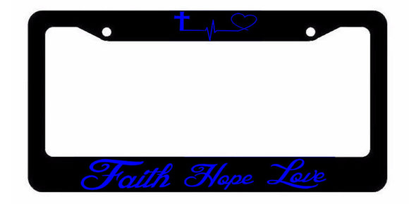 Faith Hope Love Symbol Heart Cross Christian Jesus License Plate Frame Blue Art