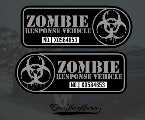 "Zombie Response Vehicle Sticker Decal - 4"" Left + Right Facing Fender"