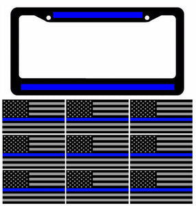 Reflective Thin Blue Line License Plate Frame w/ Blueline Flag Decal Stickers 5""
