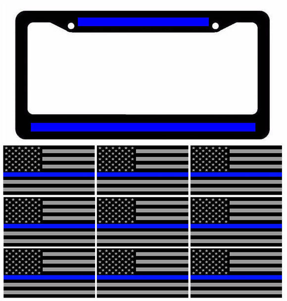 Reflective Thin Blue Line License Plate Frame w/ Blueline Flag Decal Stickers 5