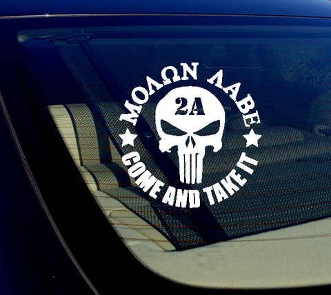 Molon Labe Punisher Come And Take It 2A Gun Rights Vinyl Decal Sticker 5""