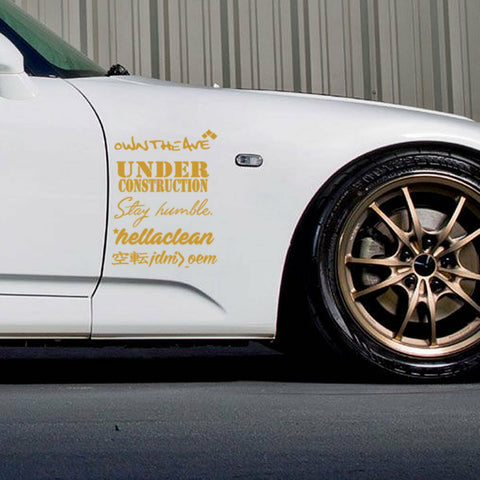 JDM Sponsor Vinyl Decal Sticker Pack of 5 Drift Race GOLD OwnTheAve (spnsr5pkG)