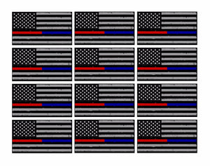 "x12 Subdued Blue & Red NonRef Tattered Flag 3"" Helmet USA Sticker Decal"