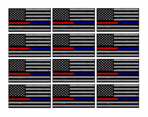 x12 Subdued Blue & Red NonRef Tattered Flag 3