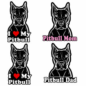 "Pitbull Pack Lot of 4 Vinyl Decal Sticker Love My Rescue Dog 5"" Inch FC#445"