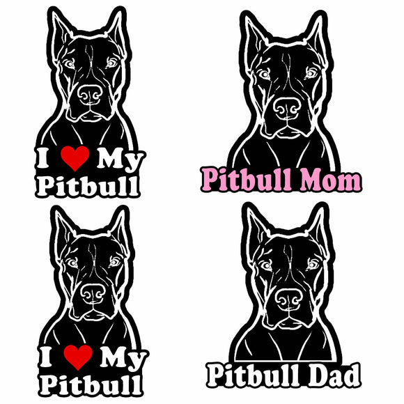Pitbull Pack Lot of 4 Vinyl Decal Sticker Love My Rescue Dog 5