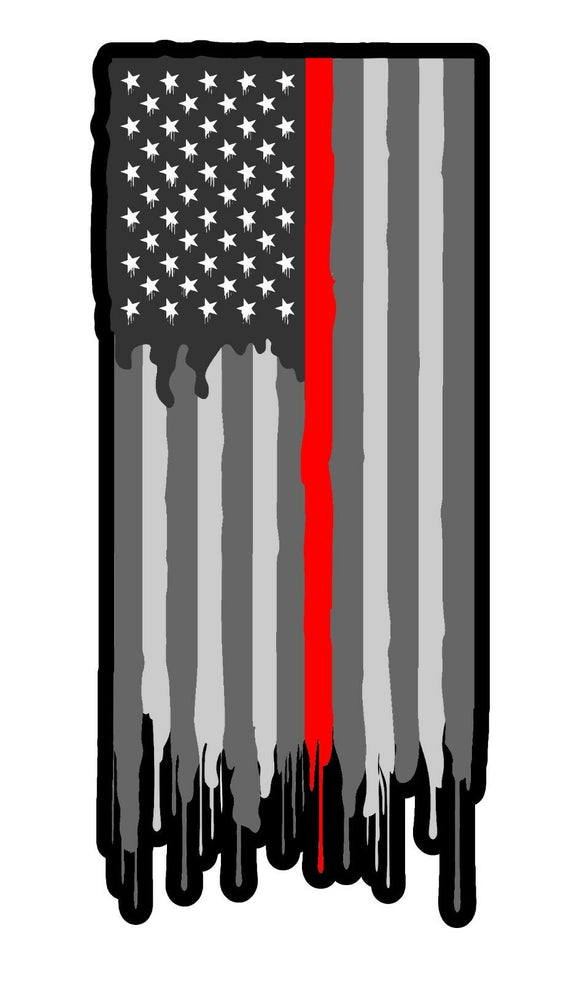 Support Firefighters Red Lined Flag Vinyl Decal Sticker Subdued Model 5