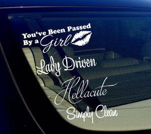 Lady Driven Passed By Girl JDM Sticker Bomb Pack Lot of 4 Decal Stickers (4Pgrl)