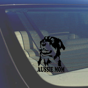 Aussie Mom Australian Shepherd Black Decal Sticker Love My Rescue Dog 5""