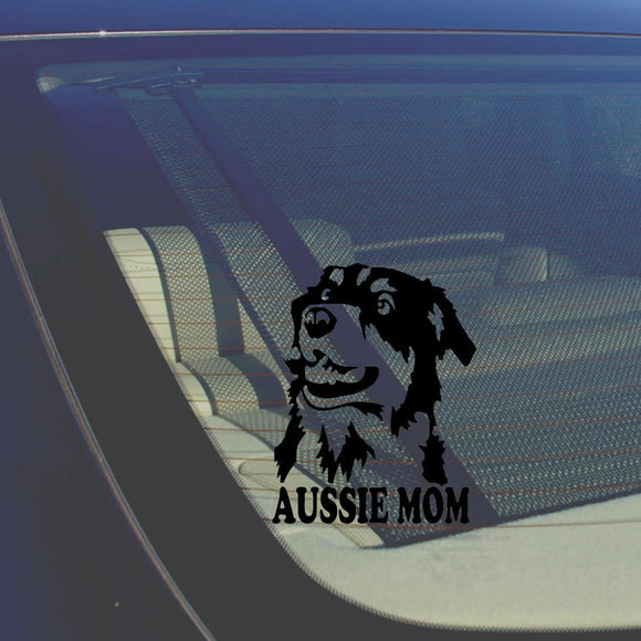 Aussie Mom Australian Shepherd Black Decal Sticker Love My Rescue Dog 5