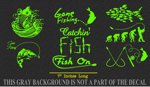 Fishing Sticker Pack Lot of 8 Green Vinyl Decal Stickers Fish Reel Lake Life