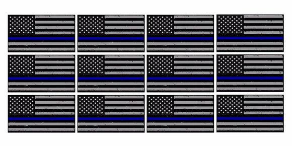 x12 Subdued Blue Tattered Flag Support Police 2