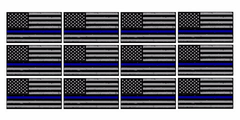 "x12 Subdued Blue Tattered Flag Support Police 2"" Helmet USA Vinyl Sticker Decal"