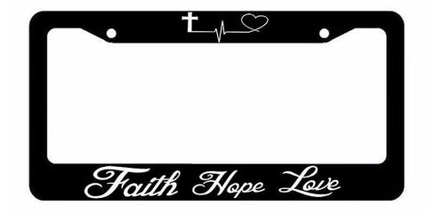 Faith Hope Love Symbol Heart Cross Christian Jesus License Plate Frame #554J89