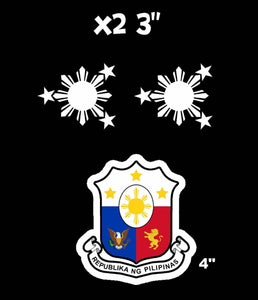 "Philippine Flag Sun And Stars Philippino + Coat of Arms Decal Stickers 4"" 3 PACK"