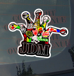 x2 / Two Pack of JDM CROWN Sticker Bomb Decal Vinyl Drifting Race Dope (otacbom)