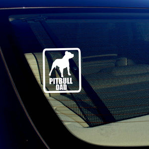 "Pitbull Dad Car Window Bumper Decal Sticker I Love My Rescue Dog 4"" Inches Rect"