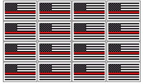 "12 Pack 2"" Thin Red Line Flag Vinyl NonRef Decal American Flag Sticker"