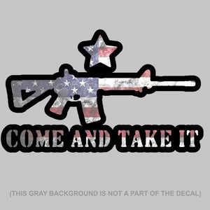 "Come And Take It USA FLAG 2nd Amendment Decal Sticker 6"" Inches Long DigiPrint"