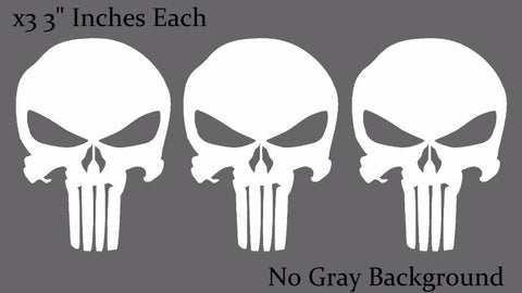 Punisher Skull White Bumper Window Car Helmet Decal Stickers Pack Lot of 3